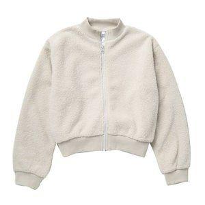 NWT Zella Girl  Teddy Faux Fur Bomber Jacket L